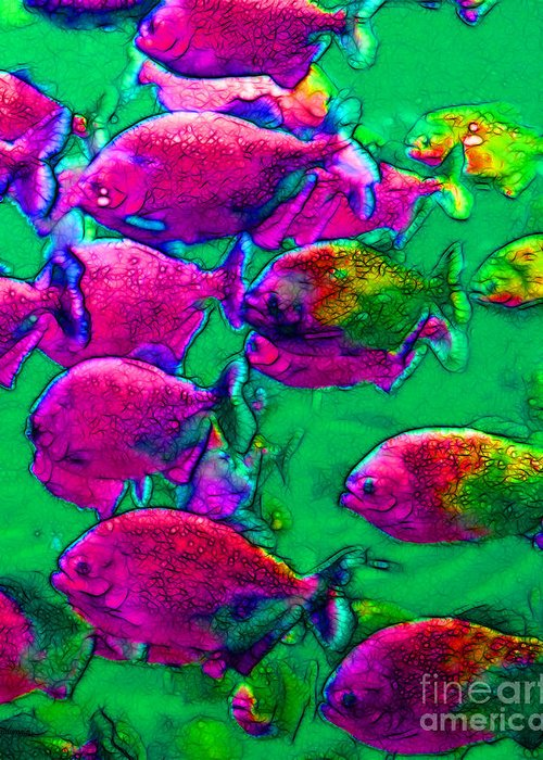 Florida Greeting Card featuring the photograph School Of Piranha V2 by Wingsdomain Art and Photography