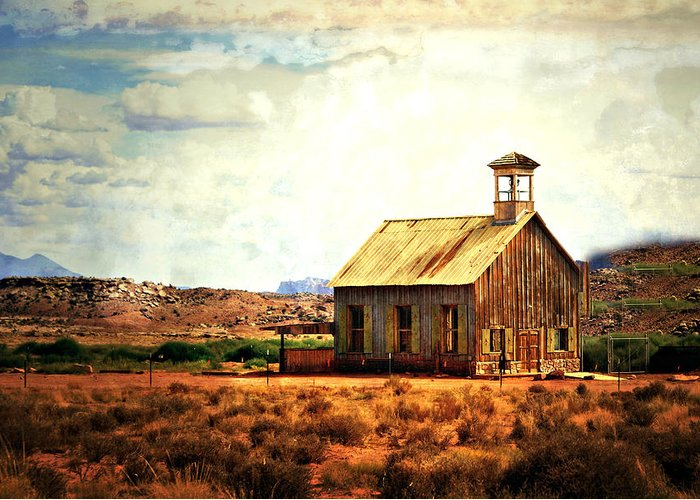 Moab Greeting Card featuring the photograph Schoolhouse 1 by Marty Koch