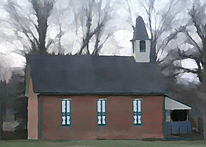 School Greeting Card featuring the photograph Schoolhouse by Brenda Conrad