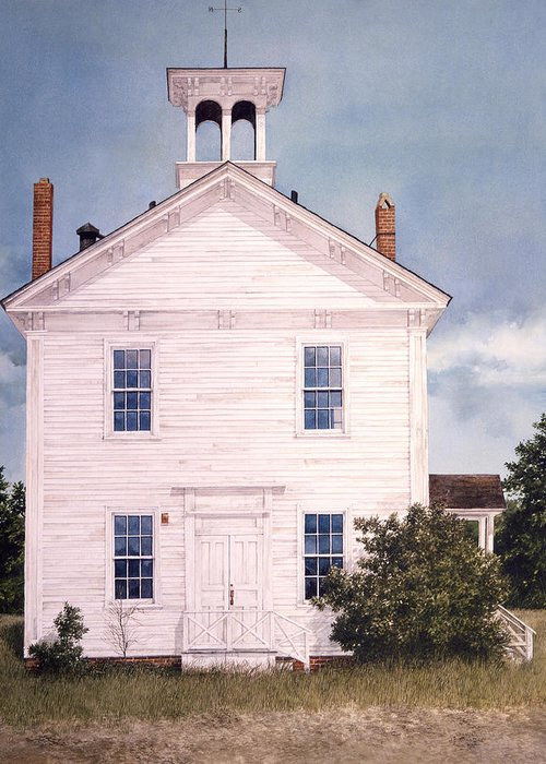 Landscape Greeting Card featuring the painting Schoolhouse by Tom Wooldridge