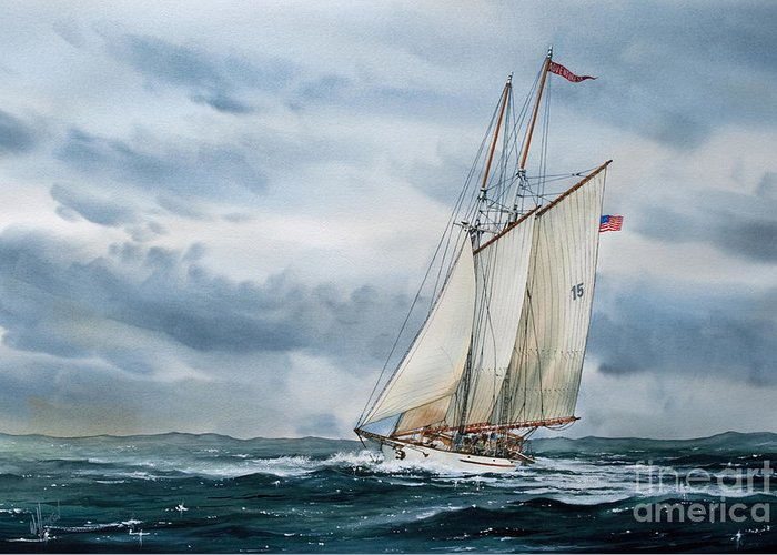 Tall Ship Print Greeting Card featuring the painting Schooner Adventuress by James Williamson
