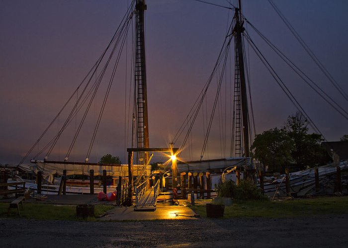Schooner Greeting Card featuring the photograph Schooner Heritage Night Shot by Mikael Carstanjen