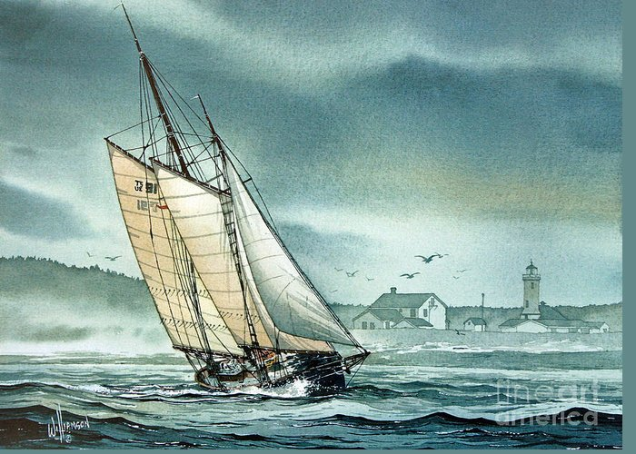 Schooner Greeting Card featuring the painting Schooner Voyager by James Williamson