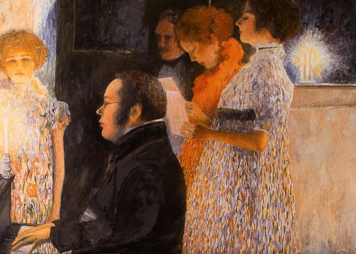 Schubert Greeting Card featuring the painting Schubert At The Piano - After Klimt by Don Perino