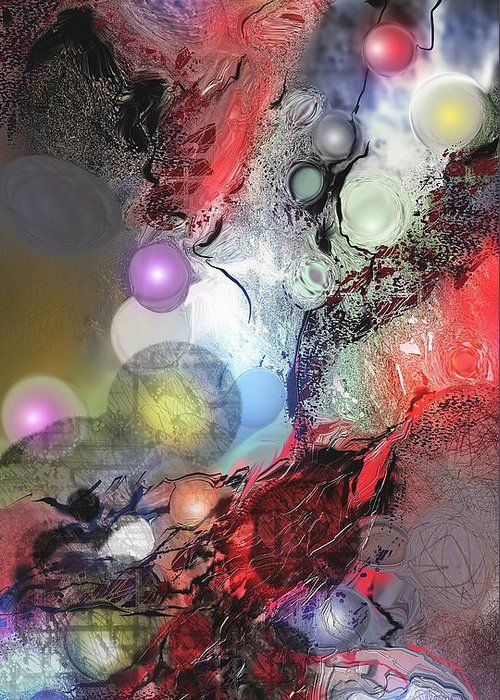 Abstract Greeting Card featuring the painting Sci-fi by Francoise Dugourd-Caput