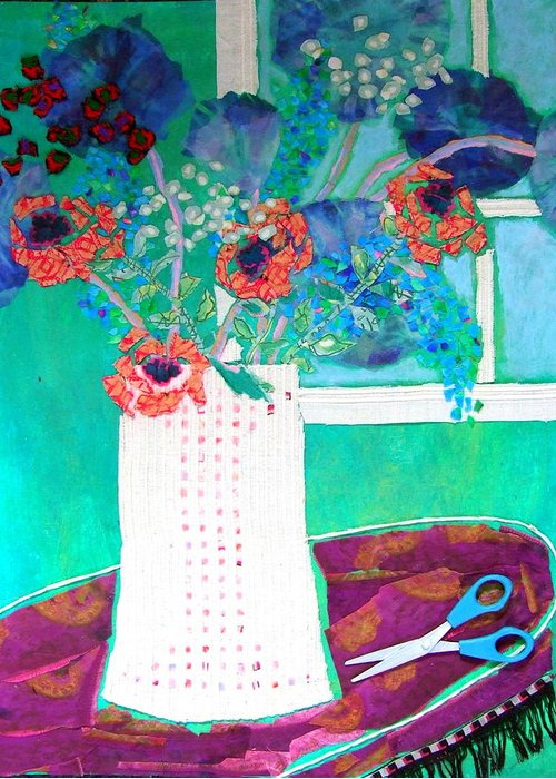 Flowers In A Vase Greeting Card featuring the mixed media Scissors by Diane Fine