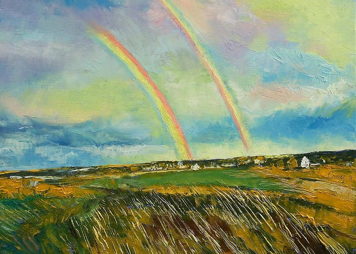 Double Rainbow Paintings Greeting Cards