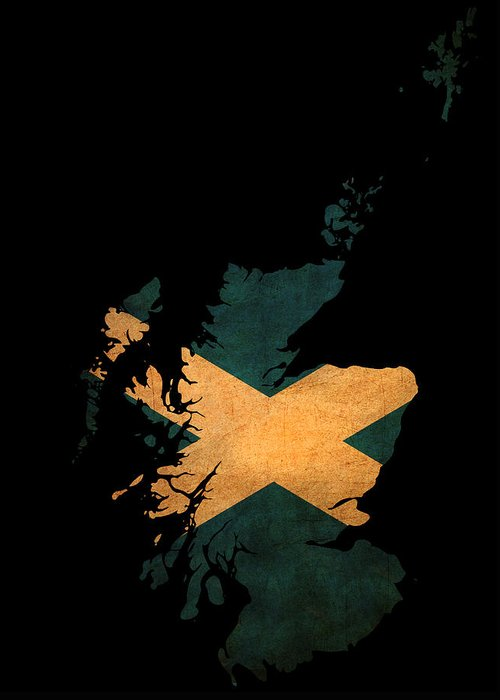 Flag Greeting Card featuring the photograph Scotland Grunge Map Outline With Flag by Matthew Gibson