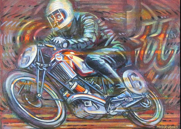 Motorcycle Greeting Card featuring the painting Scott 2 by Mark Jones