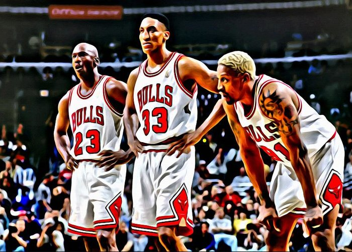 National Greeting Card featuring the painting Scottie Pippen With Michael Jordan And Dennis Rodman by Florian Rodarte