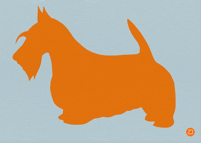 Scottish Terrier Greeting Card featuring the painting Scottish Terrier Orange by Naxart Studio