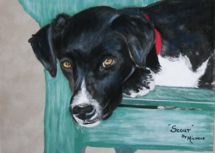 Dogs Greeting Card featuring the pastel Scout by Michele Turney