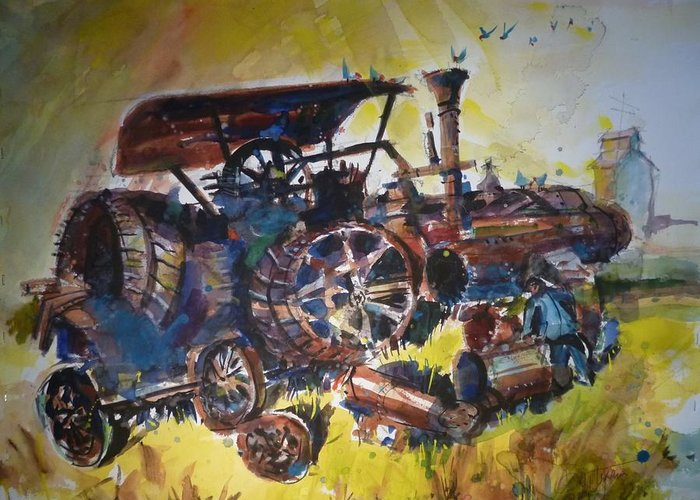 Landscape Farming Greeting Card featuring the painting Scrap Iron by Dale Jorgensen