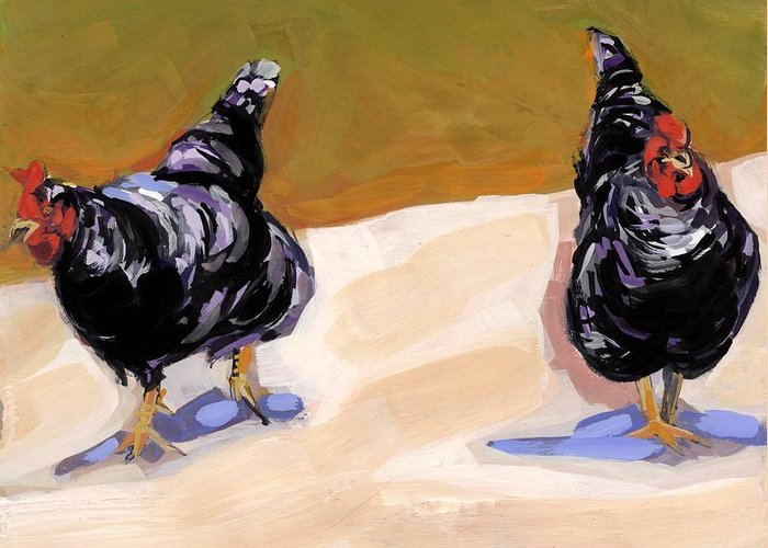 Chickens Greeting Card featuring the painting Scratch by Molly Poole