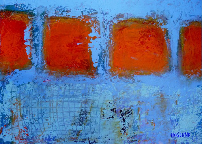Blue Orange Abstract Painting Greeting Card featuring the painting Scratched by Dan Hoglund