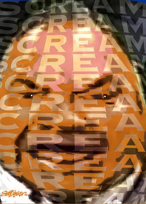 Scream! Greeting Card featuring the digital art Scream by Seth Weaver