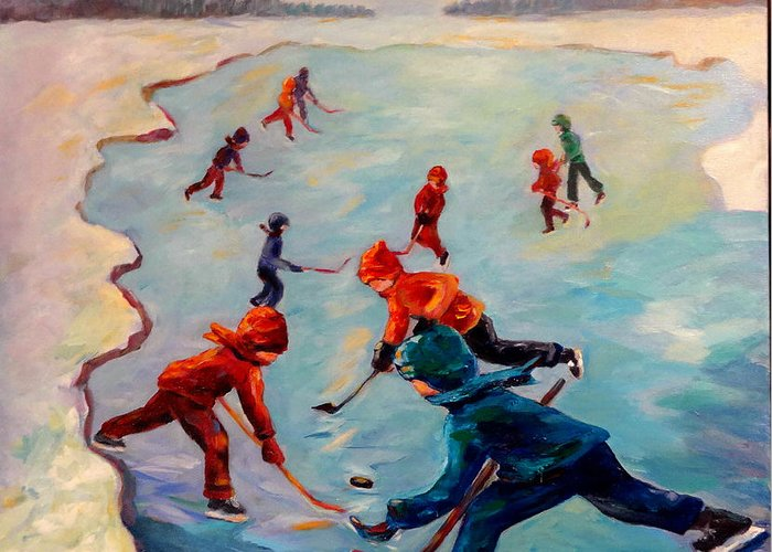 Winter Greeting Card featuring the painting Scrimmages on Our Lake by Naomi Gerrard