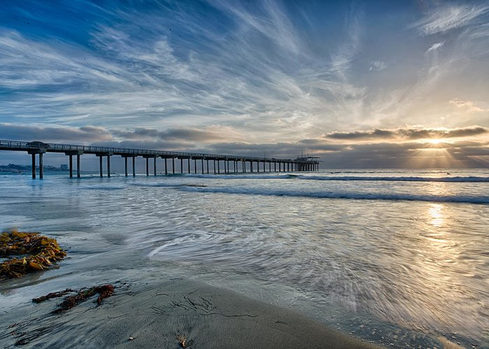 Architecture Greeting Card featuring the photograph Scripps Pier Sky And Motion by Peter Tellone