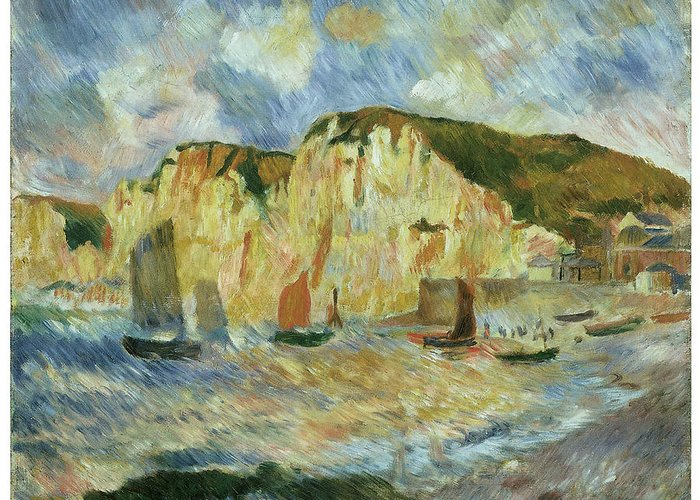 Pierre-auguste Renoir Greeting Card featuring the painting Sea And Cliffs by Pierre-Auguste Renoir
