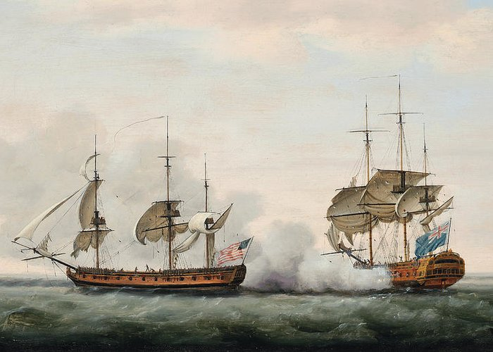The East India Company's Ship Bridgewater Successfully Defending Her Cargo From An Attack By The American Privateer Hampden On Her Way From St. Helena To England On 8th March Greeting Card featuring the painting Sea Battle by Francis Holman