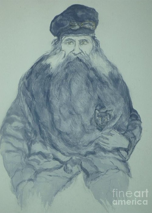 Sea Captain Greeting Card featuring the painting Sea Captain by Nancy Caccioppo