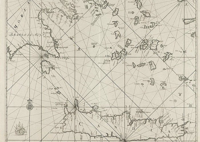 Sailing-ship Greeting Card featuring the drawing Sea Chart Of The Southern Part Of The Aegean Crete by Anonymous And Johannes Van Keulen (i)