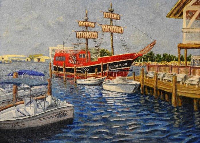 Boats Sail Boats Bay Pierce Andrew Pierce Paintings Panama City Sea Dragon Water Dock Greeting Card featuring the painting Sea Dragon by Andrew Pierce