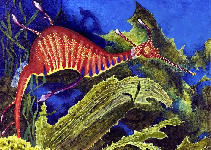 Seadragon Greeting Card featuring the painting Sea Dragon by Mary Palmer