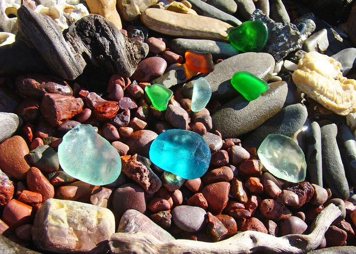 Seaglass Greeting Card featuring the photograph Sea Glass Art Prints Beach Seaglass by Baslee Troutman