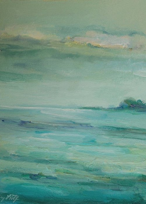 Landscape Greeting Card featuring the painting Sea Glass by Mary Wolf