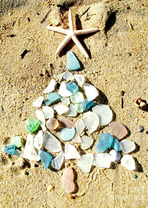 Christmas Greeting Card featuring the photograph Sea Glass Tree by Rose Nemcosky-Arneson