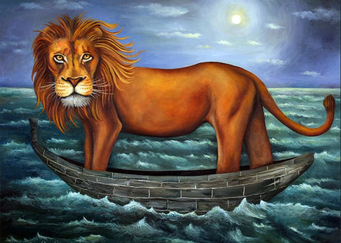 Lion Greeting Card featuring the painting Sea Lion Bolder Image by Leah Saulnier The Painting Maniac