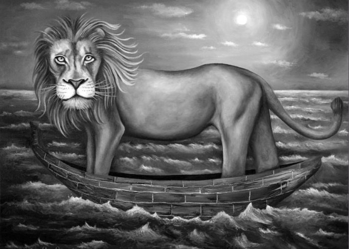 Lion Greeting Card featuring the painting Sea Lion In Bw by Leah Saulnier The Painting Maniac