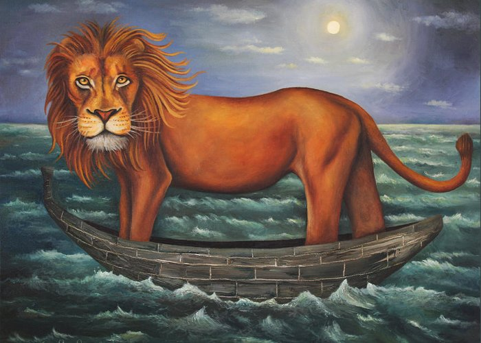 Lion Greeting Card featuring the painting Sea Lion Softer Image by Leah Saulnier The Painting Maniac