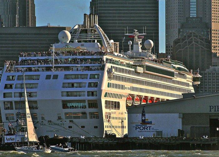 Cruise Ship Greeting Card featuring the photograph Sea Princess At Pier 29 San Francisco by DUG Harpster
