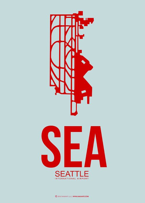 Seattle Greeting Card featuring the digital art Sea Seattle Airport Poster 1 by Naxart Studio
