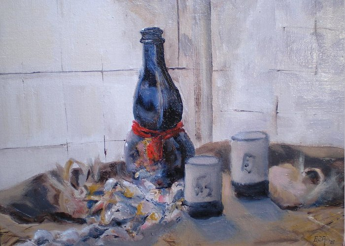 Still Life Greeting Card featuring the painting Sea Shells And Sake by Bryan Alexander
