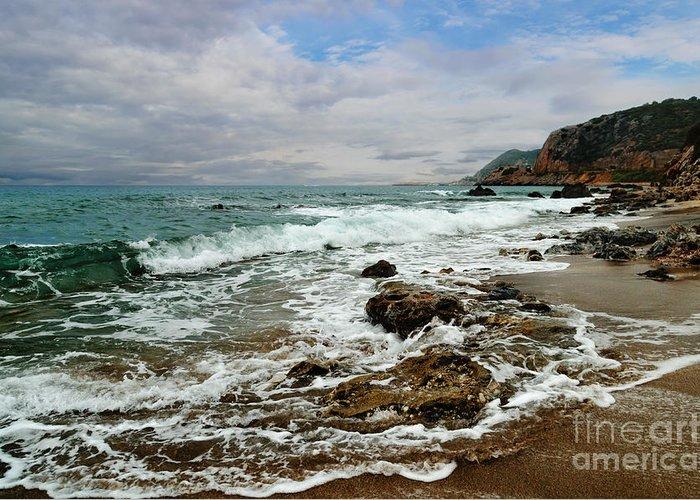 Sea Greeting Card featuring the pyrography Sea Shore by Jelena Jovanovic