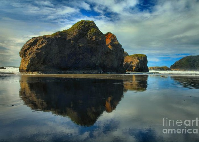 Meyers Creek Greeting Card featuring the photograph Sea Stack Swirls by Adam Jewell