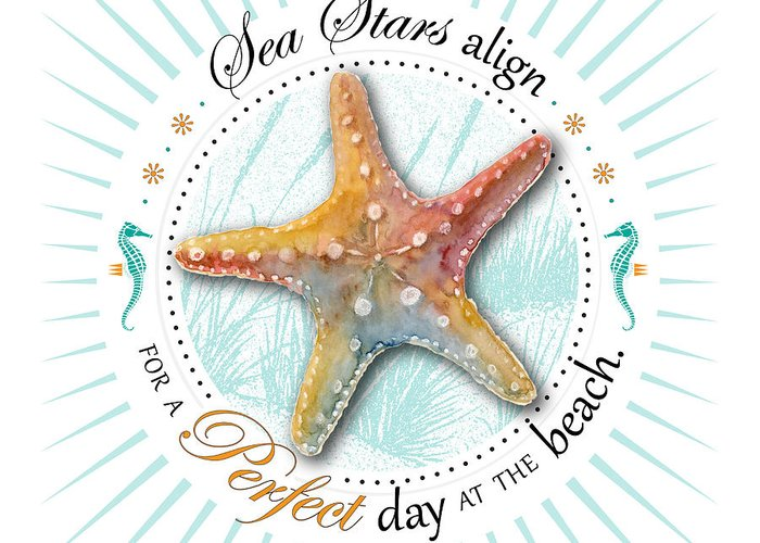 Seashell Greeting Card featuring the painting Sea Stars Align For A Perfect Day At The Beach by Amy Kirkpatrick