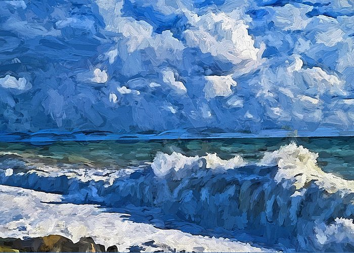 Sea Greeting Card featuring the digital art Sea Storm Coming Soon by Yury Malkov