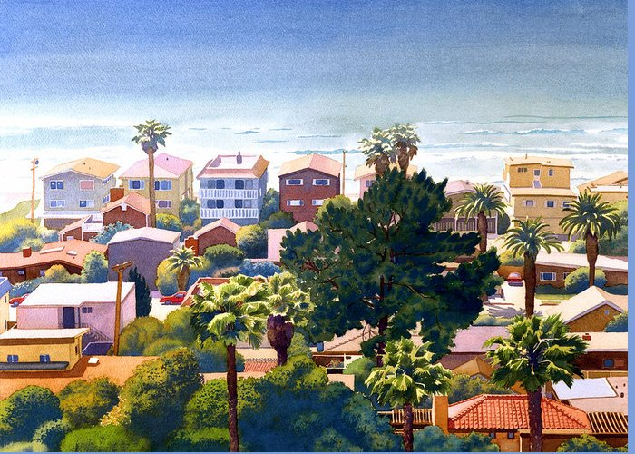 Seaview Greeting Card featuring the painting Sea View Del Mar by Mary Helmreich
