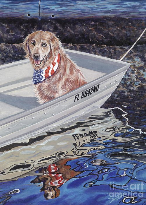 Golden Retriever Greeting Card featuring the painting SeaDog by Danielle Perry