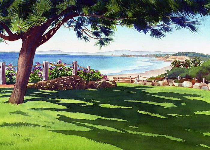 Seagrove Greeting Card featuring the painting Seagrove Park Del Mar by Mary Helmreich