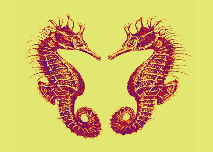 Sea Greeting Card featuring the digital art Seahorses In Love by Jane Schnetlage