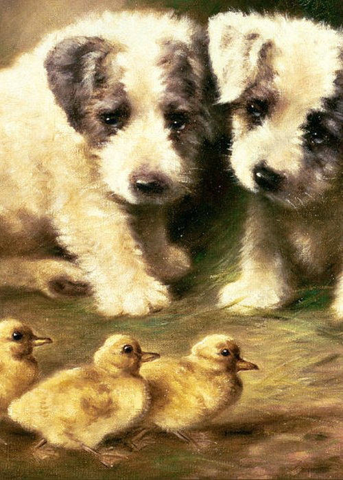 Dog Greeting Card featuring the painting Sealyham Puppies And Ducklings by Lilian Cheviot