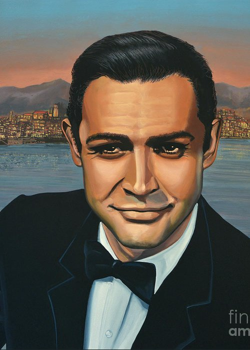 James Bond Greeting Card featuring the painting Sean Connery As James Bond by Paul Meijering