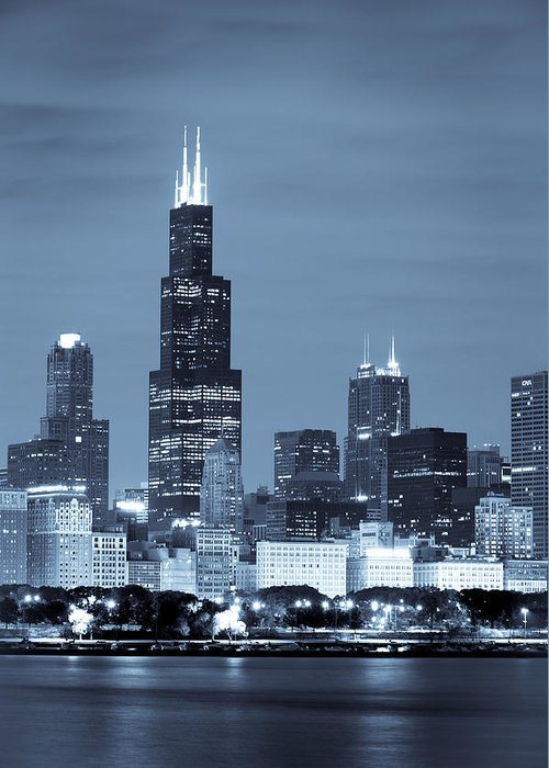 Chicago Skyline Greeting Card featuring the photograph Sears Tower In Blue by Sebastian Musial