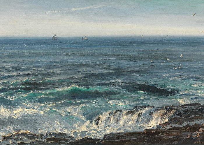 Seascape; Sea; Water; Coast; Coastal; Rocks; Rocky; Wave; Waves; Foam; Boat; Boats; Ship; Ships Greeting Card featuring the painting Seascape 1877 by Henry Moore