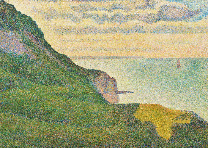 Landscape; Cliffs; Coast; Coastal; View; Pointillist; Pointillism; Sea; English; Channel; France; Seaside Greeting Card featuring the painting Seascape At Port En Bessin Normandy by Georges Seurat